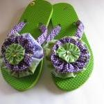 Flip Flops Decorated Lime G..
