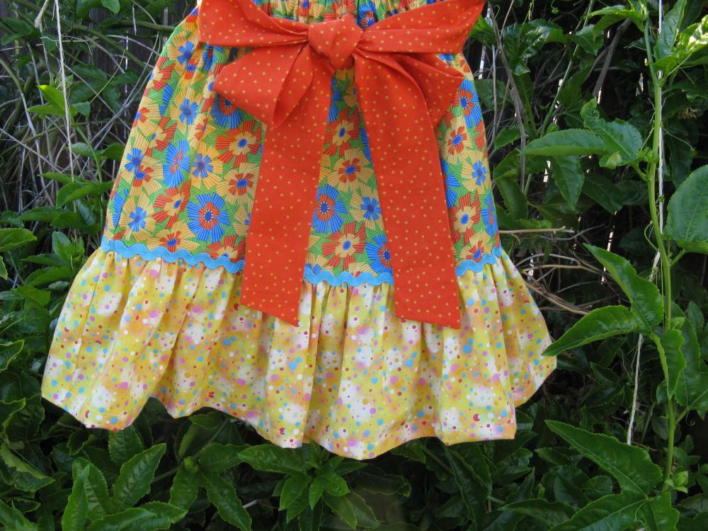 Ruffle Skirt Child in Size 6 Yellow Blue Orange Prints