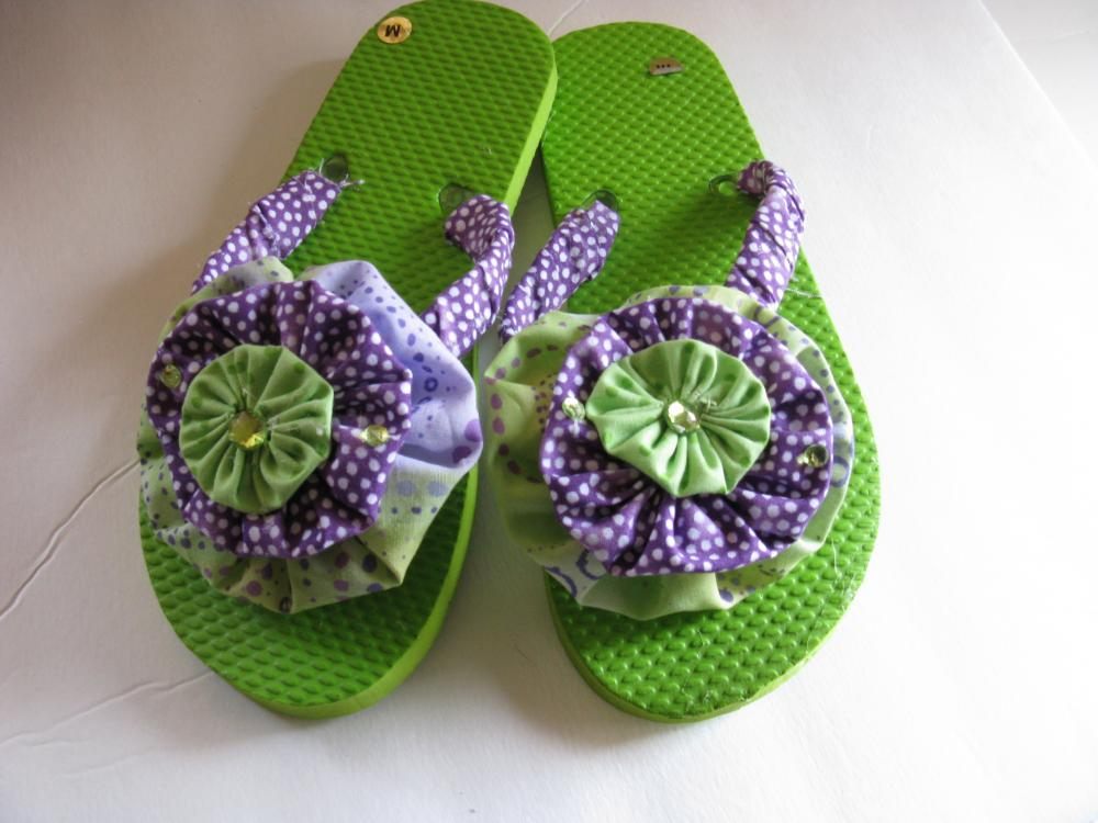 Flip Flops Decorated Lime Green and Purple