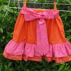 Childs Ruffle Skirt Size 6 Pink and Orange