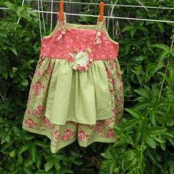 Girl Dress Size 6 Green Pink