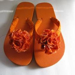Orange Decorated Flip Flops