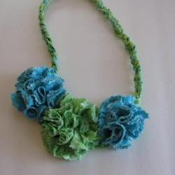 Green Blue Frilly Flowers Braided Necklace