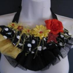 Black Red Yellow Bib Necklace
