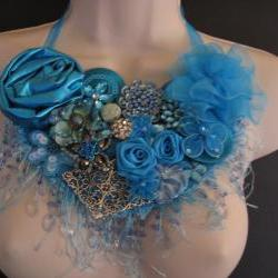 Blue Ice Bib Necklace